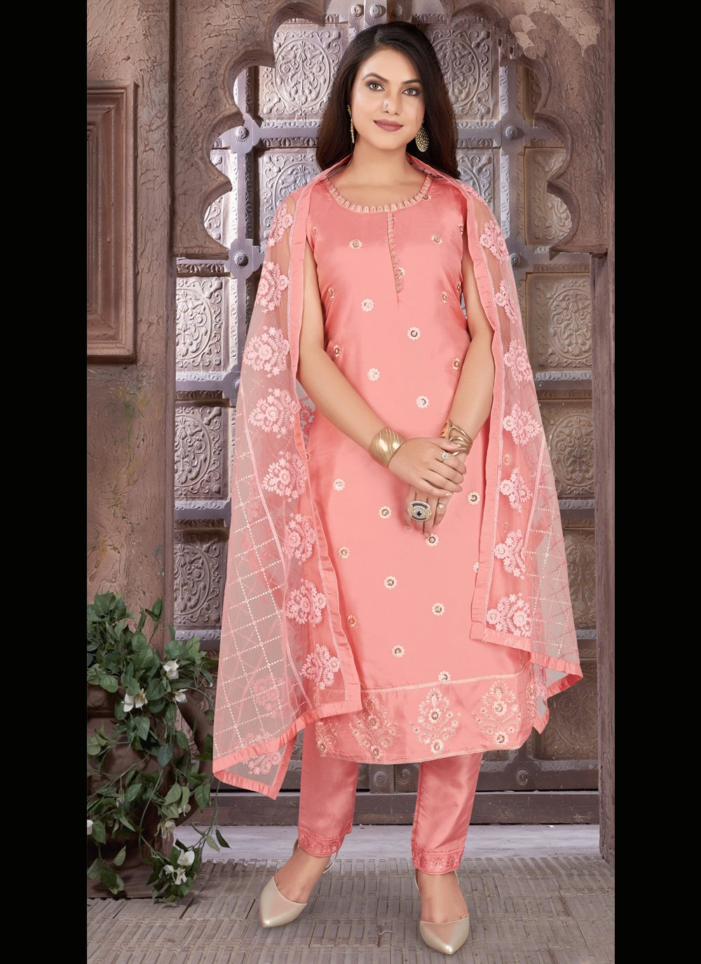 Peach Chanderi Festival Readymade Suit