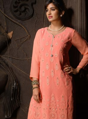 Peach Chicken Faux Georgette Party Wear Kurti