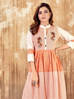 Peach Color Party Wear Kurti