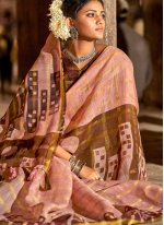 Peach Color Printed Saree