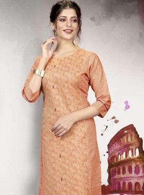Peach Cotton Designer Kurti