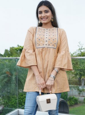Peach Cotton Embroidered Party Wear Kurti