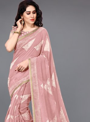 Peach Cotton Festival Printed Saree