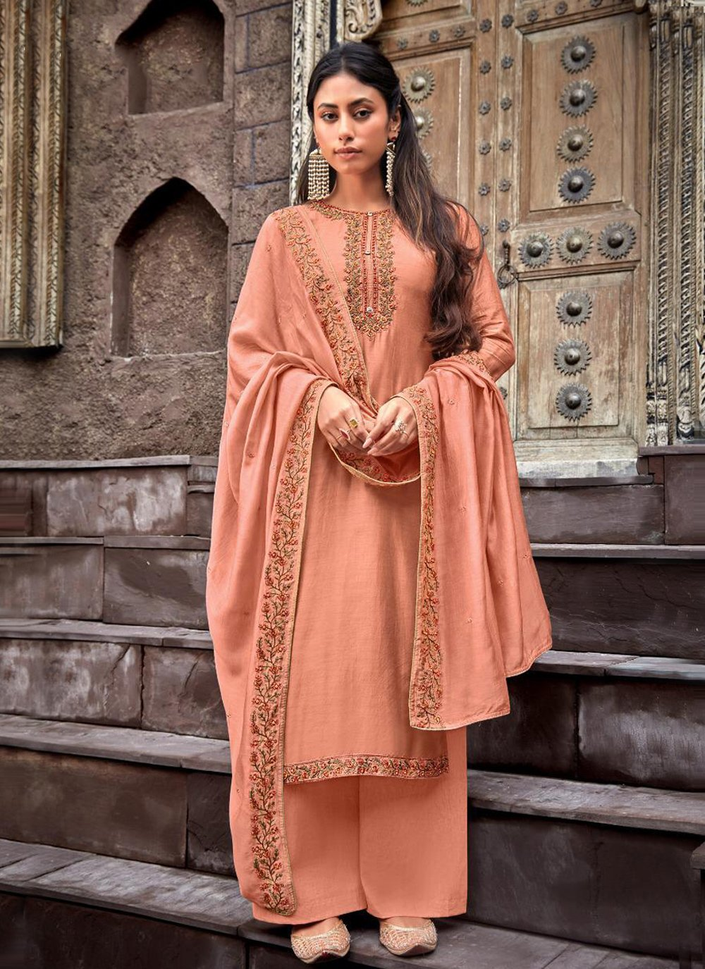 Peach Cotton Silk Ceremonial Designer Palazzo Salwar Kameez