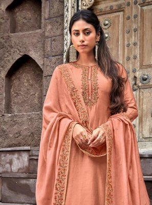 Peach Cotton Silk Ceremonial Designer Palazzo Salwar Kameez