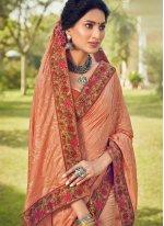 Peach Cotton Silk Classic Designer Saree
