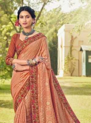 Peach Cotton Silk Classic Designer Saree