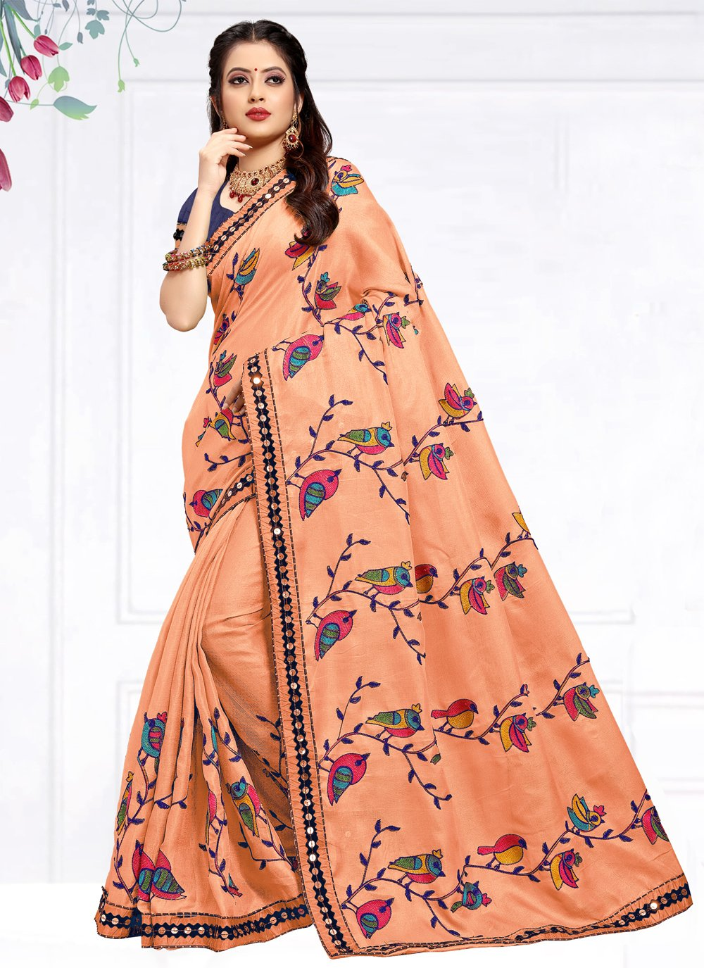 Peach Cotton Silk Festival Trendy Saree