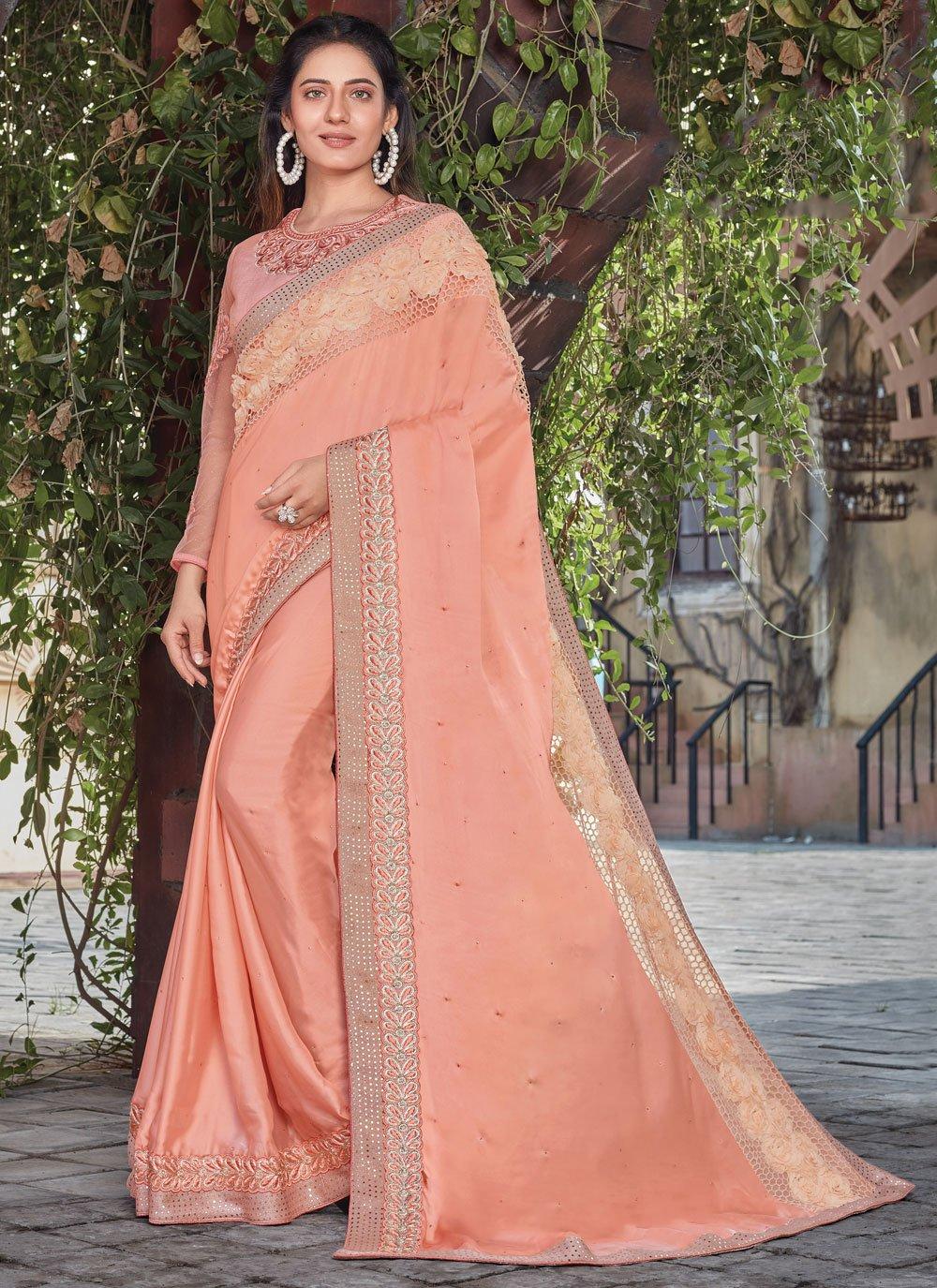 Peach Designer Saree