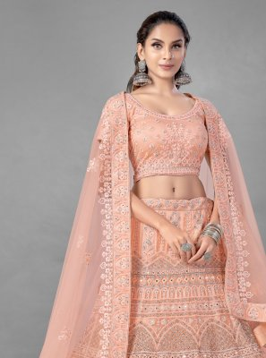 Peach Dori Work Net Lehenga Choli
