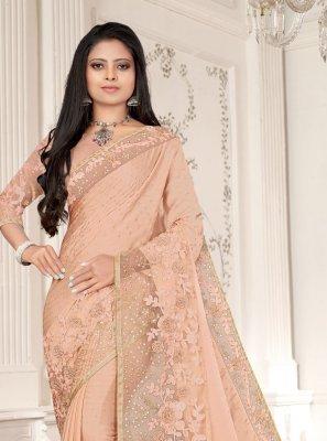 Peach Embroidered Ceremonial Designer Saree