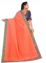 Peach Embroidered Ceremonial Designer Traditional Saree