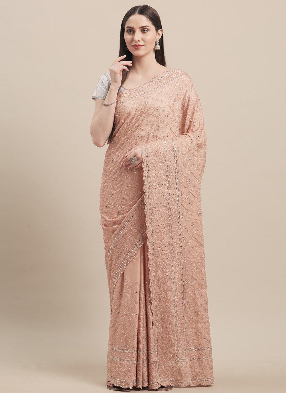 Peach Embroidered Ceremonial Designer Traditional Saree