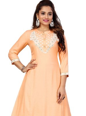 Peach Embroidered Cotton Party Wear Kurti