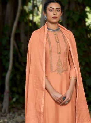 Peach Embroidered Designer Pakistani Suit