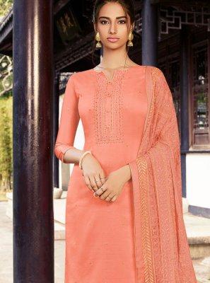 Peach Embroidered Designer Palazzo Suit