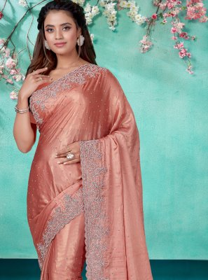 Peach Embroidered Designer Traditional Saree