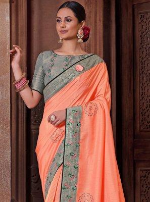 Peach Embroidered Designer Traditional Saree