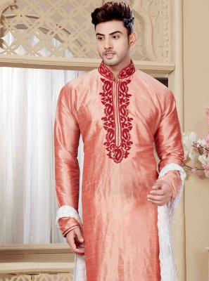 Peach Embroidered Engagement Kurta Pyjama