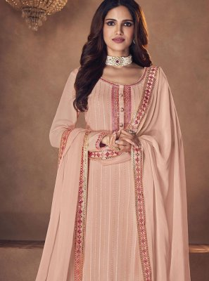 Peach Embroidered Faux Georgette Designer Palazzo Suit
