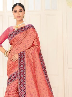 Peach Embroidered Festival Traditional Saree