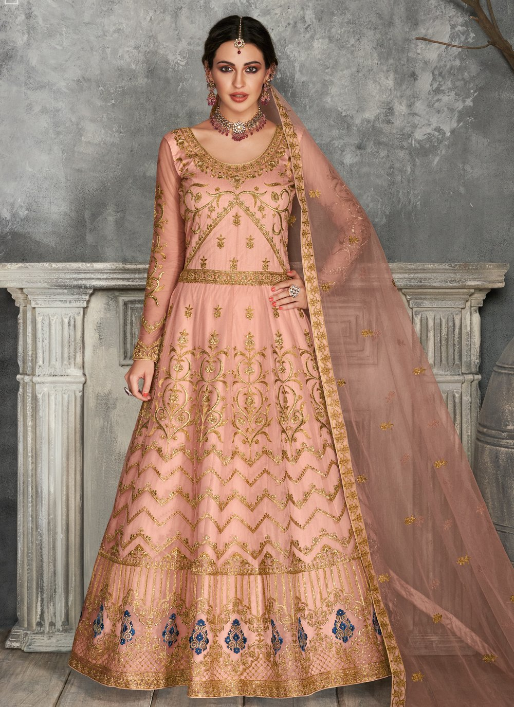 Peach Embroidered Floor Length Anarkali Suit