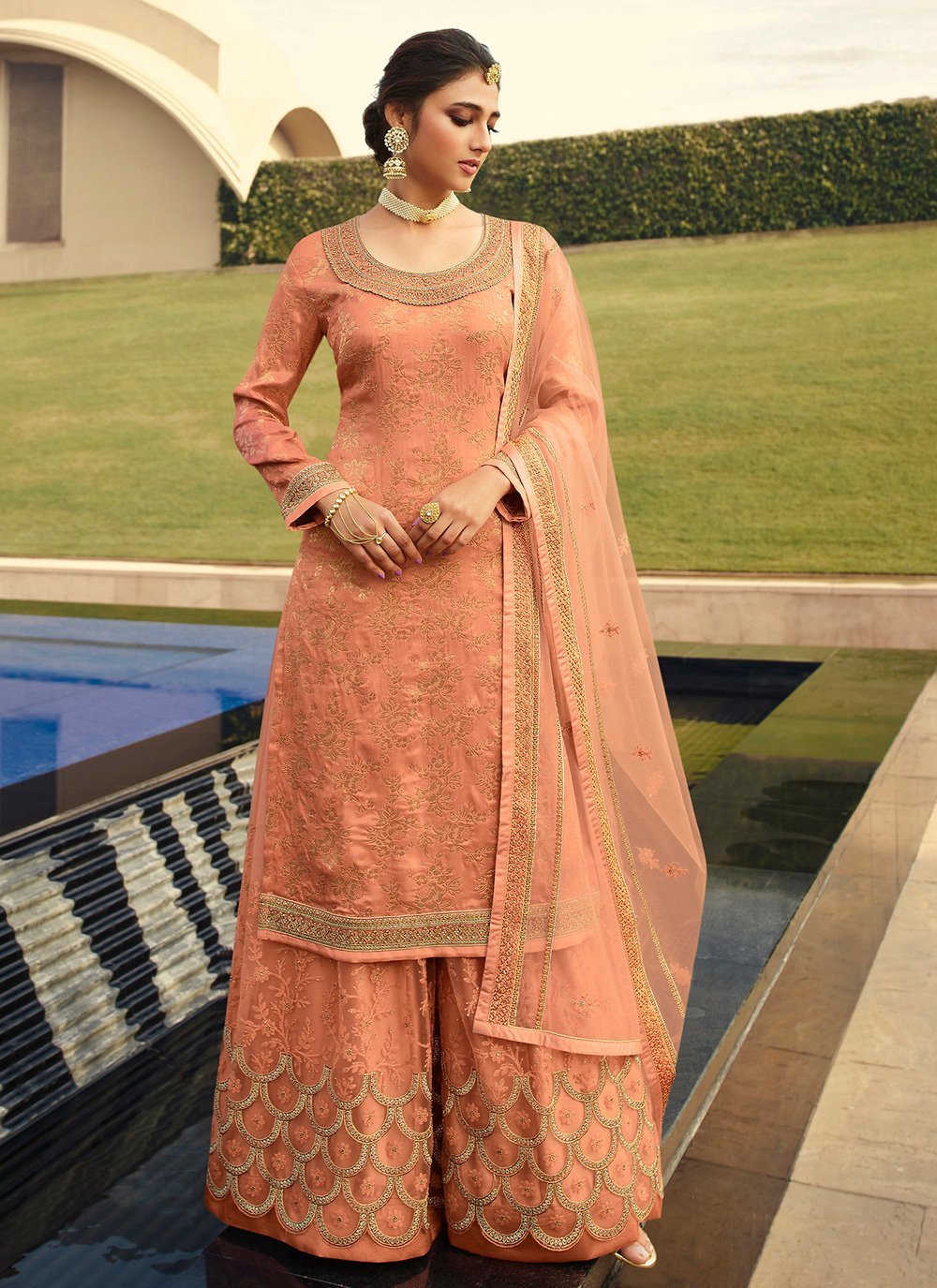Peach Embroidered Jacquard Silk Designer Palazzo Suit