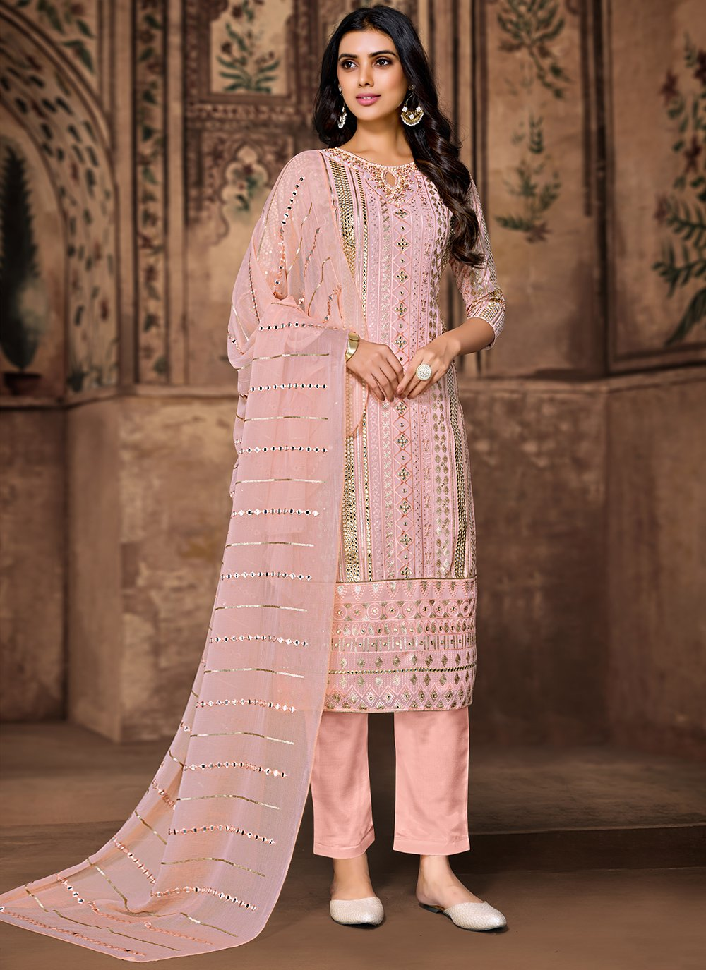 Peach Embroidered Pant Style Suit
