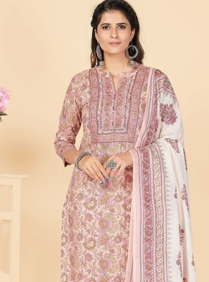 Peach Embroidered Party Salwar Suit
