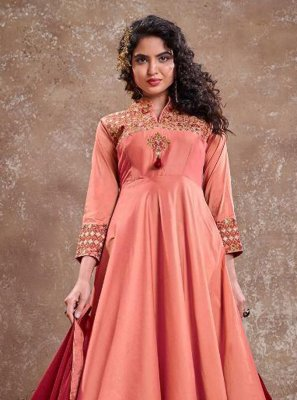 Peach Embroidered Readymade Anarkali Suit
