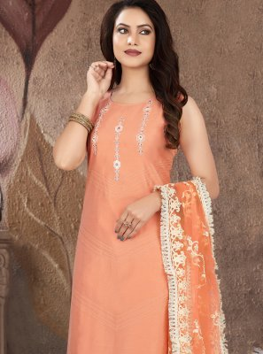 Peach Embroidered Readymade Suit