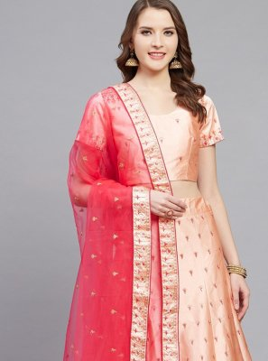 Peach Embroidered Satin Bollywood Lehenga Choli