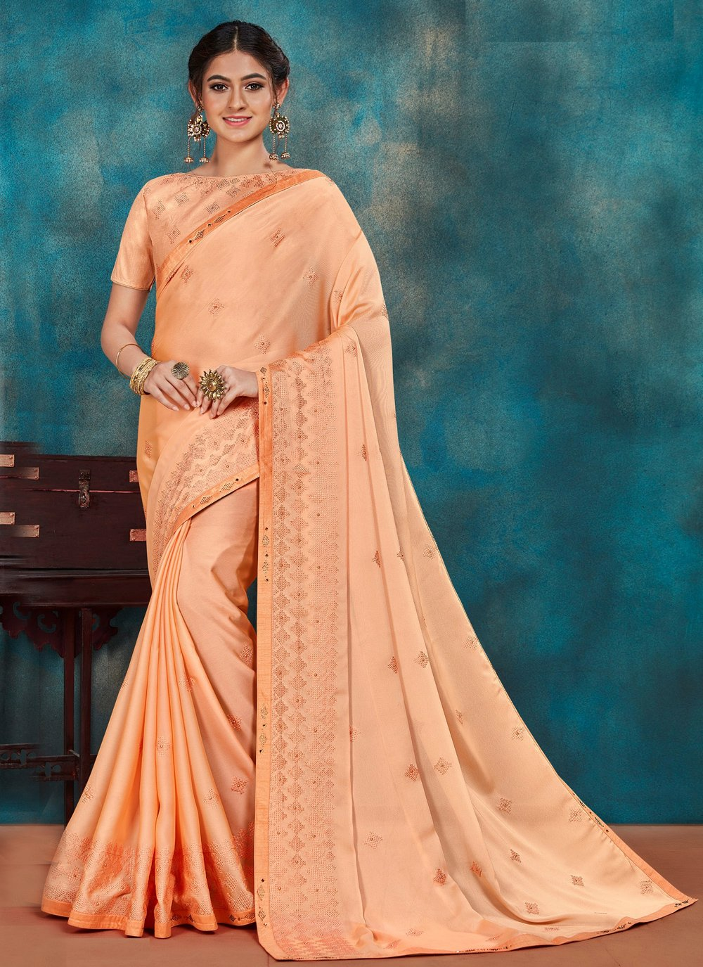 Peach Embroidered Traditional Designer Saree