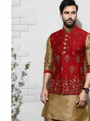 Peach Engagement Art Silk Sherwani