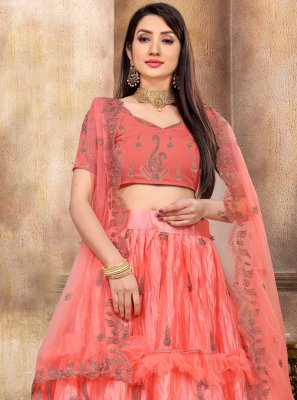 Peach Engagement Lehenga Choli