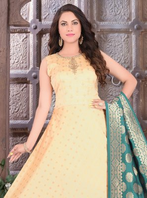 Peach Fancy Art Silk Readymade Suit