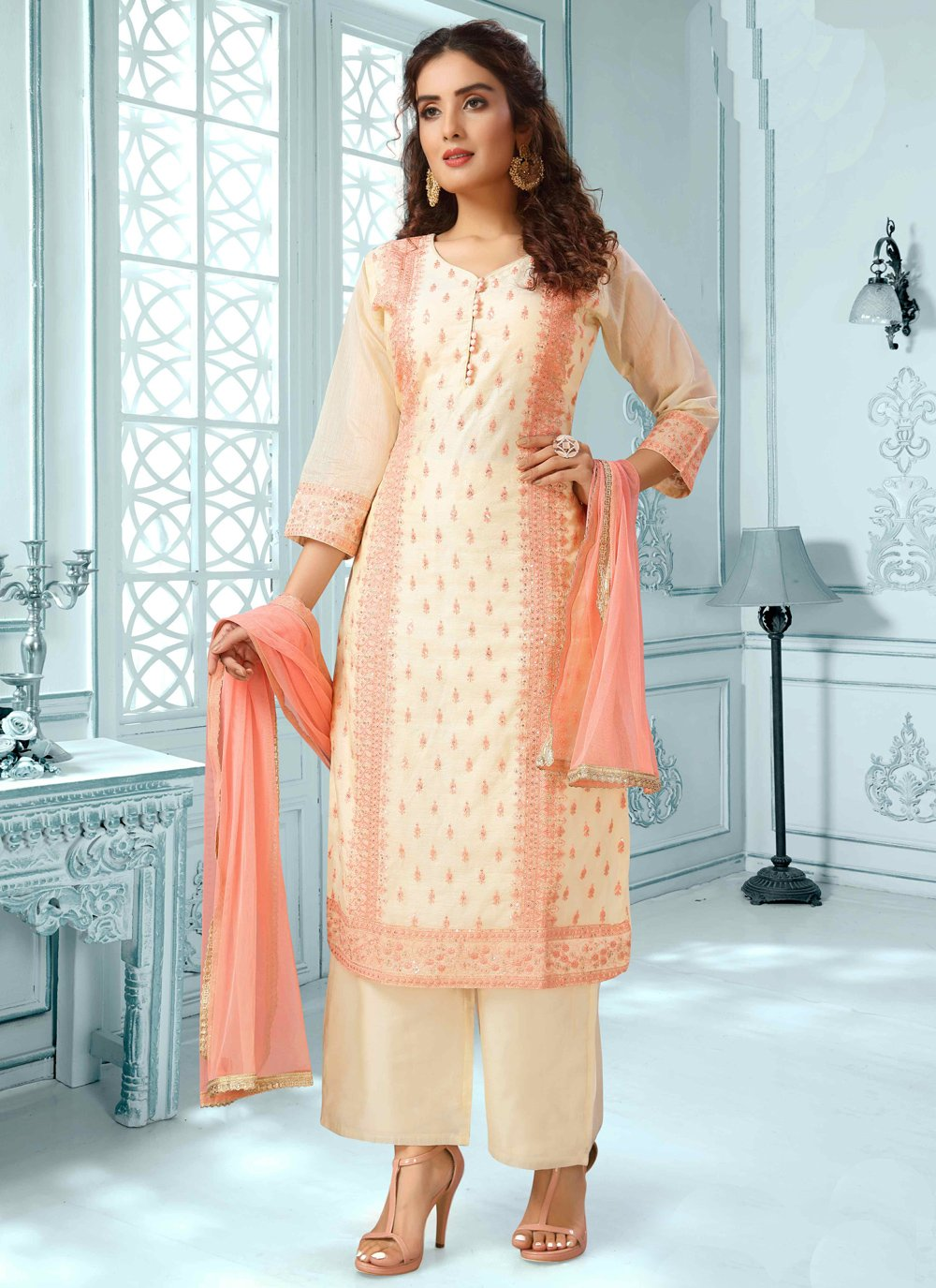 Peach Fancy Chanderi Readymade Suit
