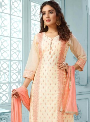 Peach Fancy Chanderi Readymade Suit