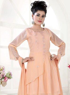 Peach Fancy Faux Georgette Designer Palazzo Suit