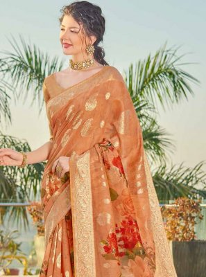 Peach Fancy Festival Designer Traditional Saree