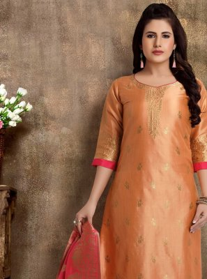 Peach Fancy Festival Readymade Churidar Suit