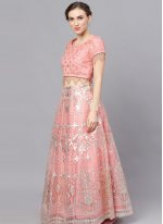 Peach Fancy Sangeet Readymade Lehenga Choli