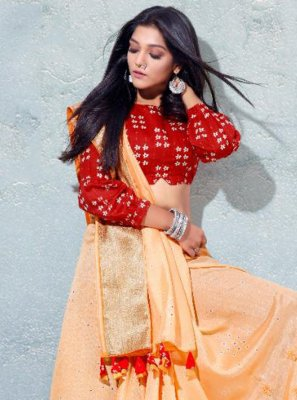 Peach Fancy Silk Designer Traditional Saree