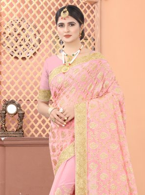 Peach Faux Georgette Designer Traditional Saree