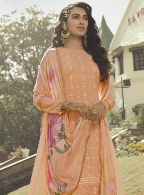 Peach Faux Georgette Embroidered Designer Palazzo Suit