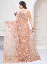 Peach Festival Net Designer Saree