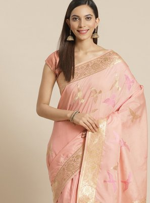 Peach Festival Silk Traditional Designer Saree