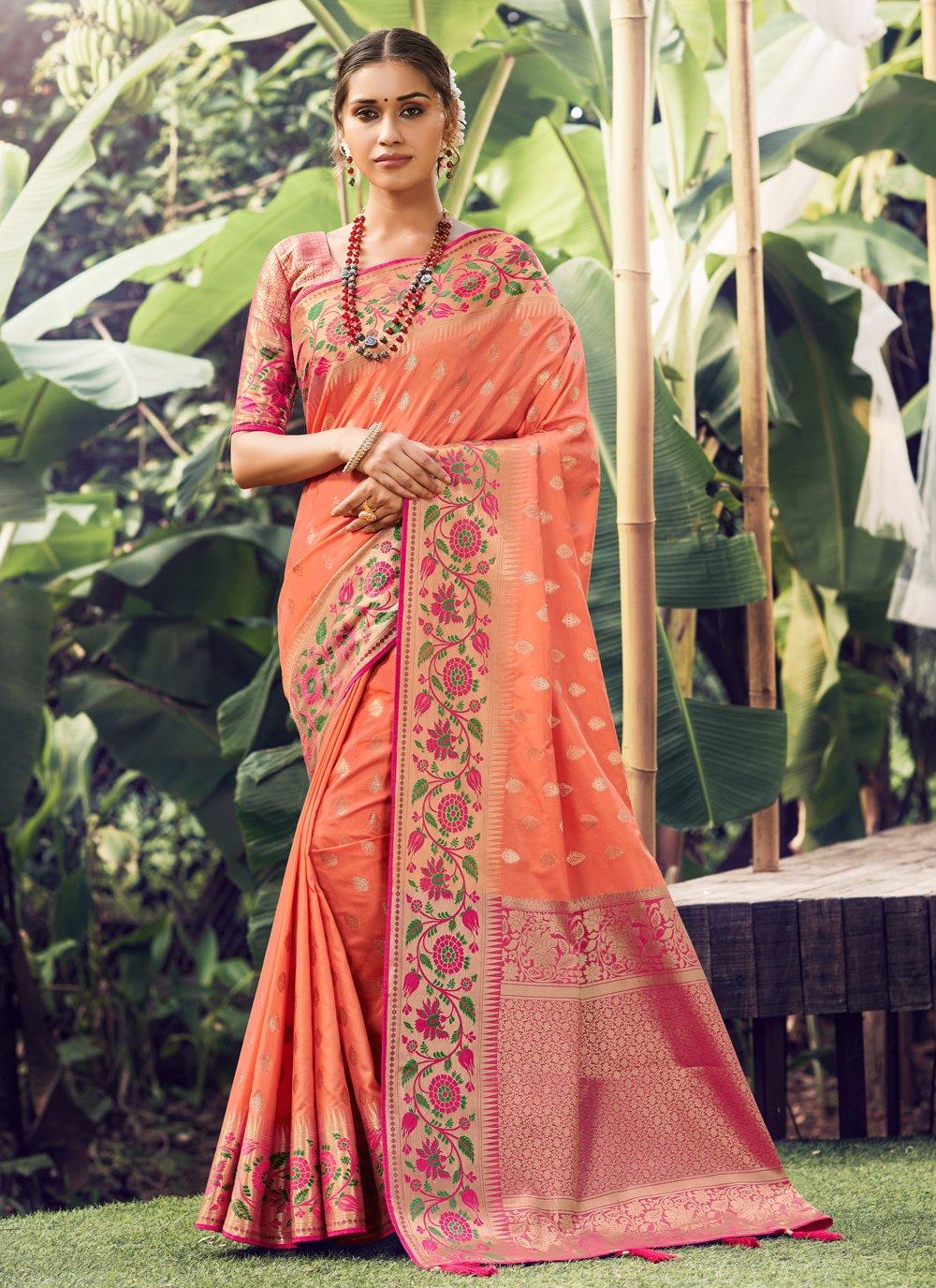 Peach Festival Traditional Designer Saree