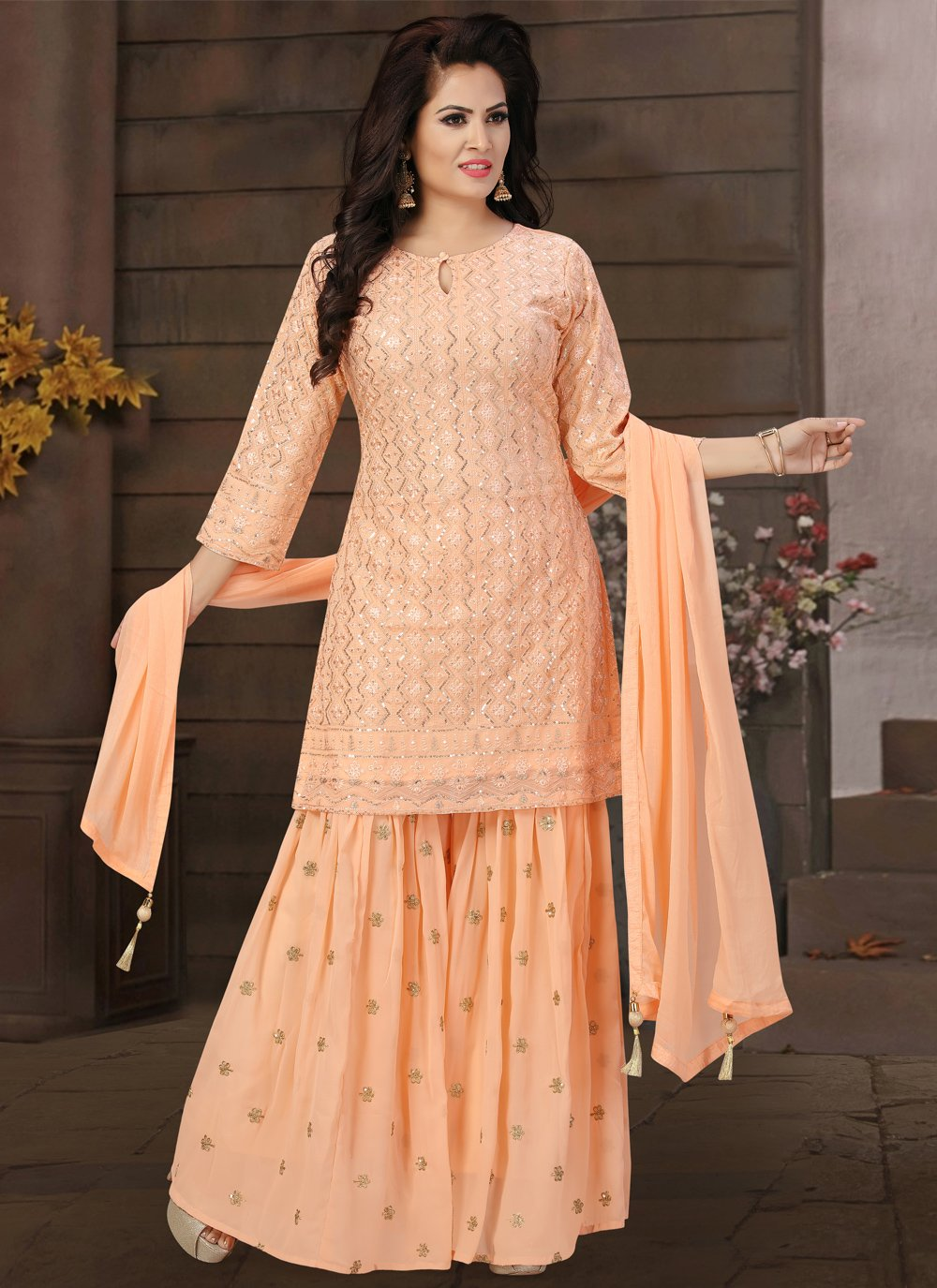 Peach Georgette Engagement Readymade Suit