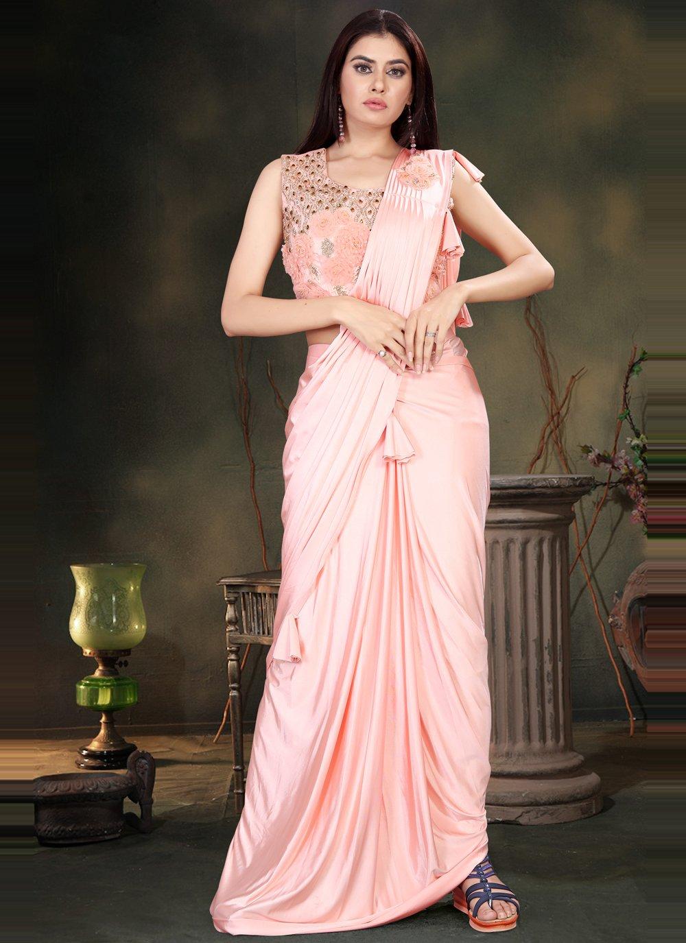 Peach Handwork Lycra Classic Designer Saree